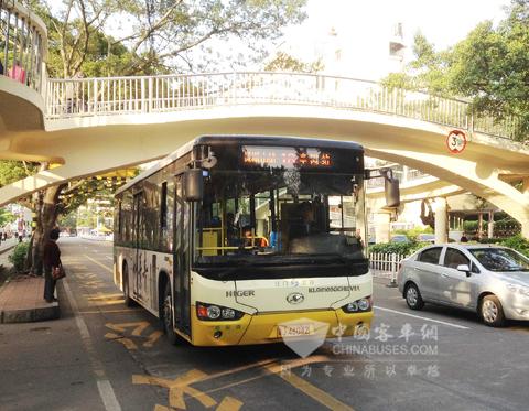 江门公汽海格新能源车辆在运行