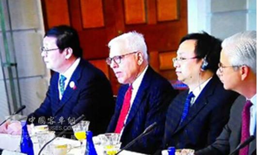 王传福(左二)出席第七轮中美战略与经济对话相关活动